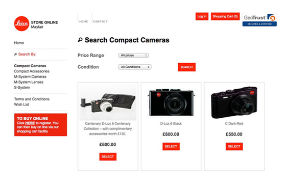 Website Development, Leica Select